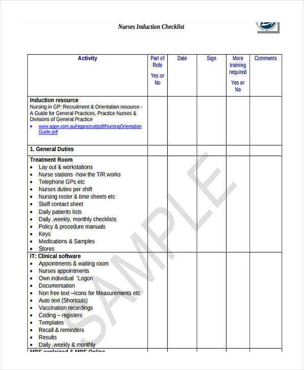 nurse induction checklist