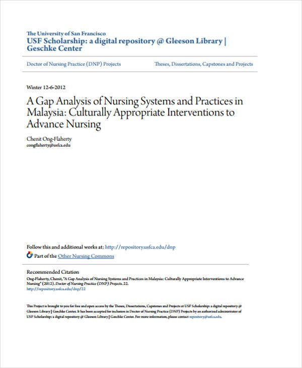 nursing gap analysis sample