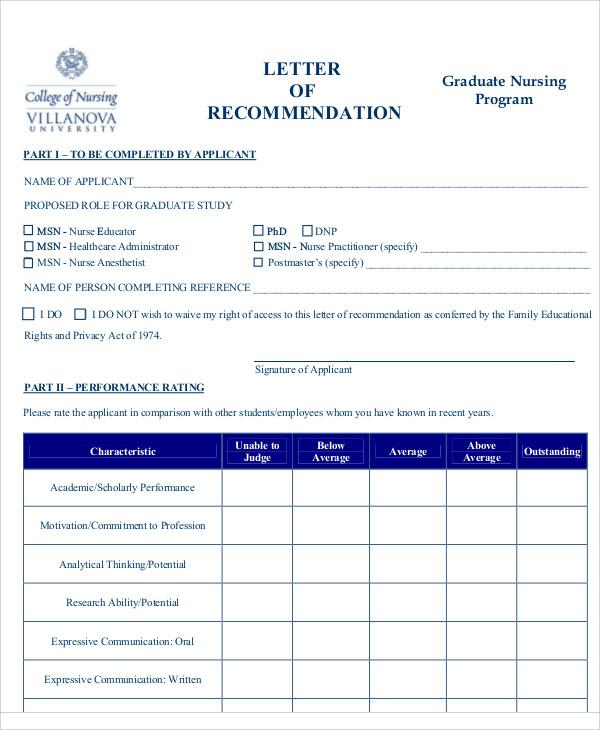 nursing graduate program reference letter