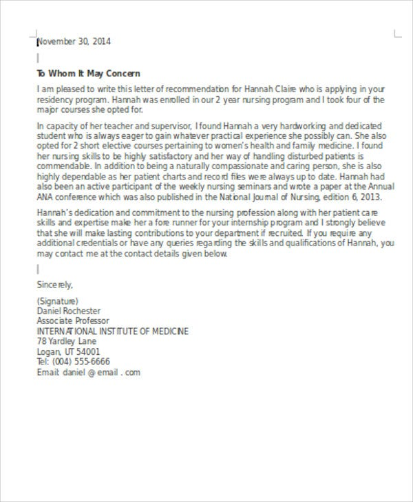 nursing internship reference letter1