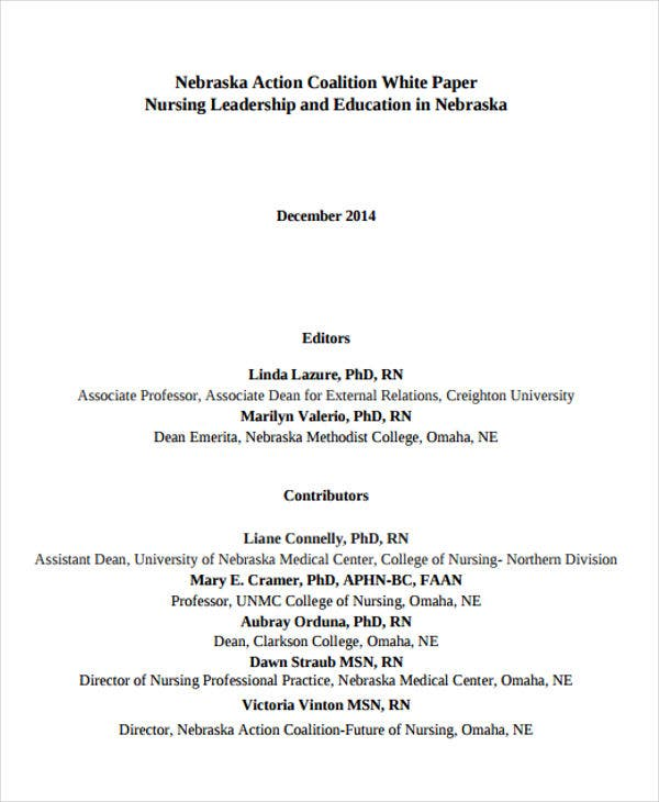 nursing leadership white paper