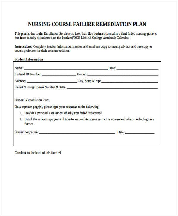 nursing remediation plan