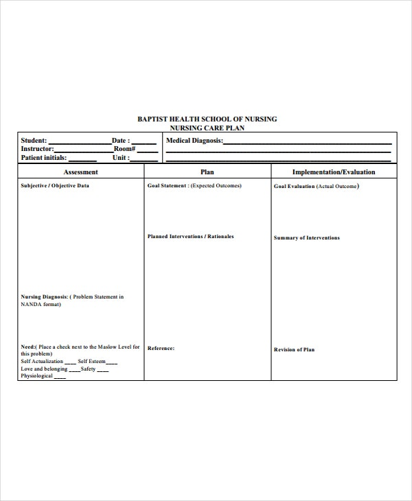 Self care plan template image collections template for Self care plan template