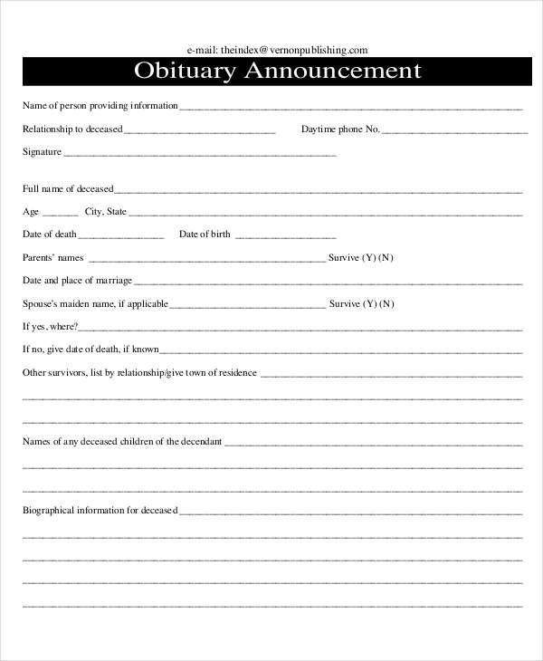 obituary announcement template