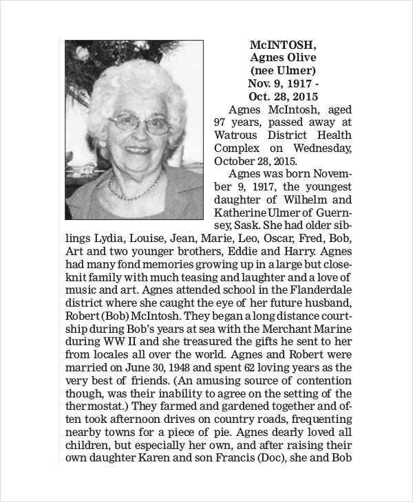obituary thank you