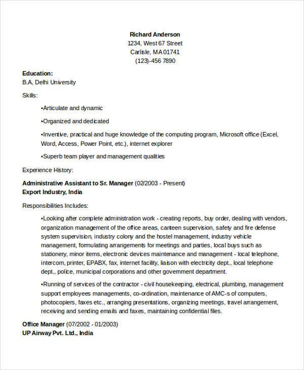 office administrative manager resume