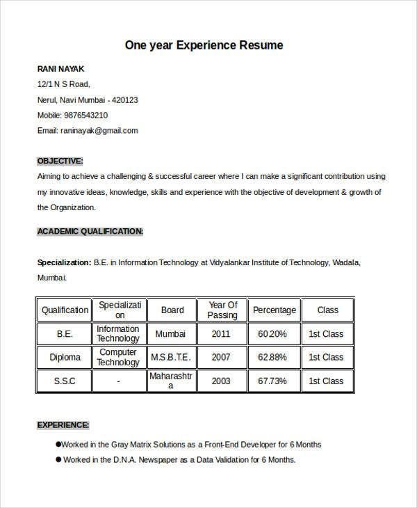 Resume Format  Free Word Pdf Documents Download  Free