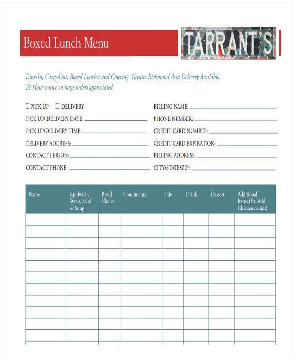order form for catering menu