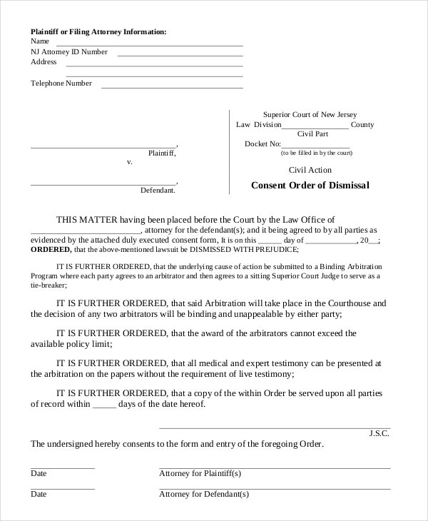 Consent Order Forms - 11+ Free Word, Pdf Format Download | Free