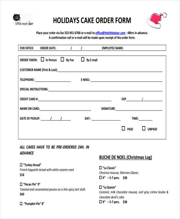 order form for holiday cake