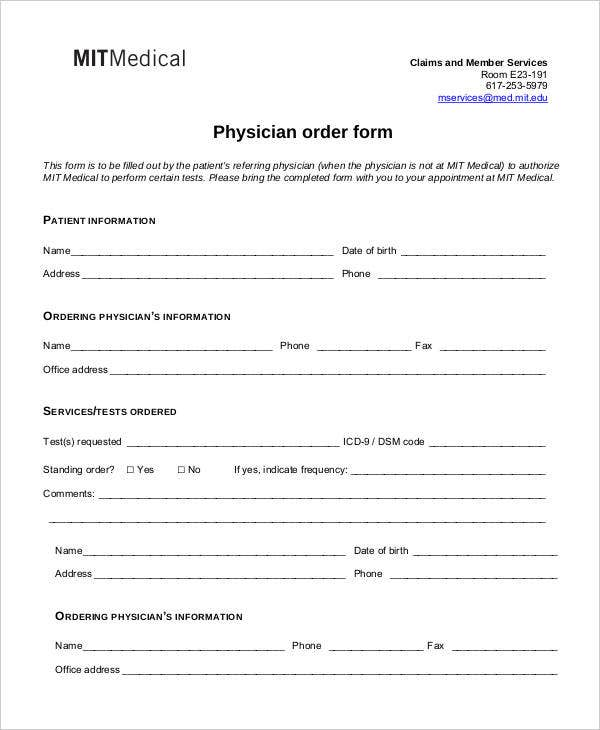 Medical Order Forms   Free Word Pdf Format Download  Free