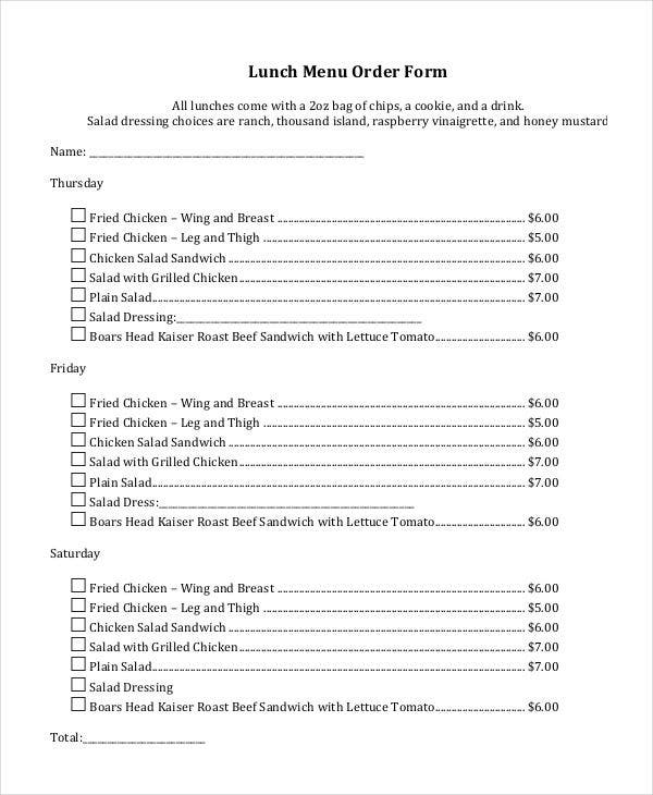 order of lunch menu