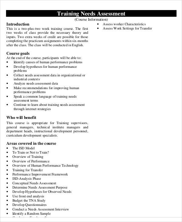 Needs Assessment Needs Assessment Needs Assessment Form Template