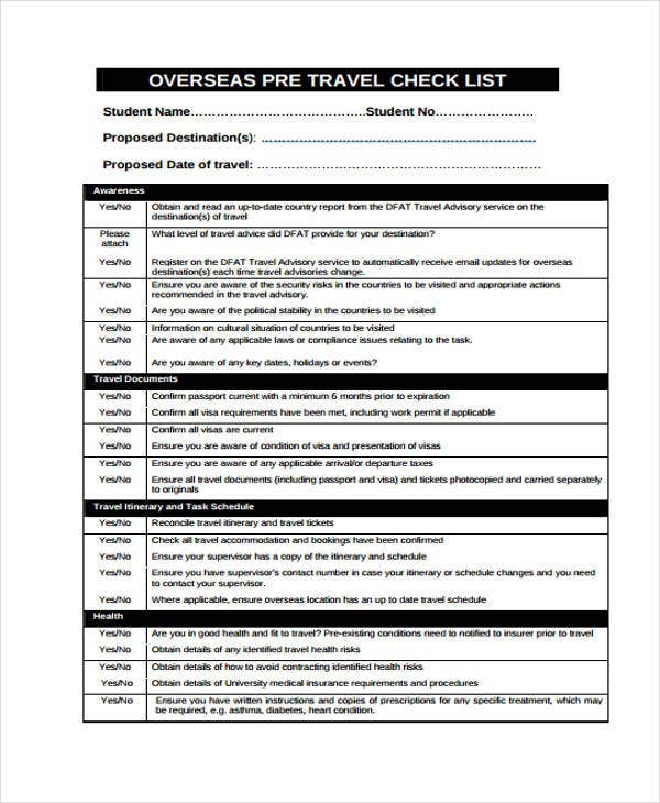 Travel Checklist Templates - 11 Free Samples, Examples Format