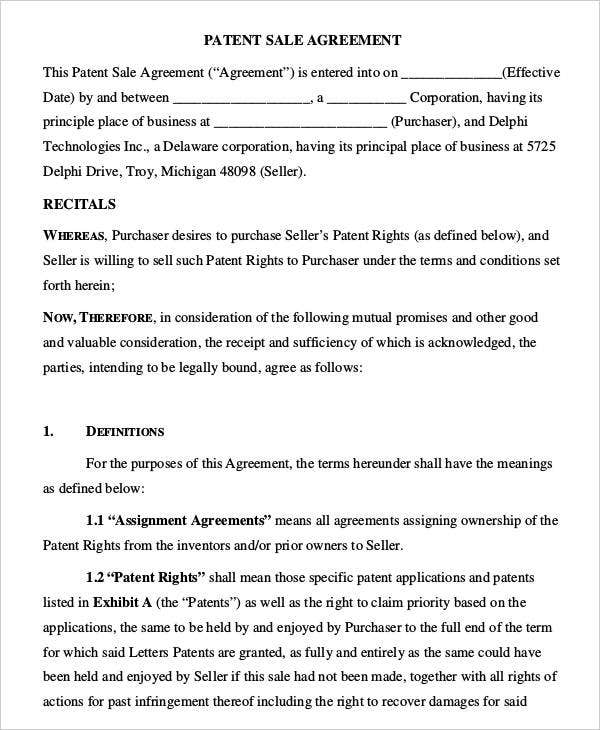Patent Sale Agreement