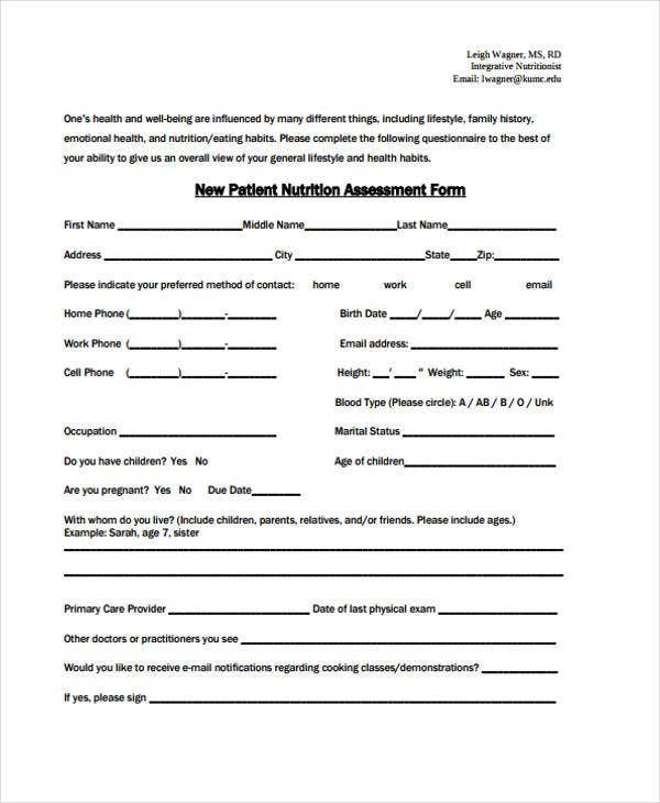 New Patient Nutrition Assessment