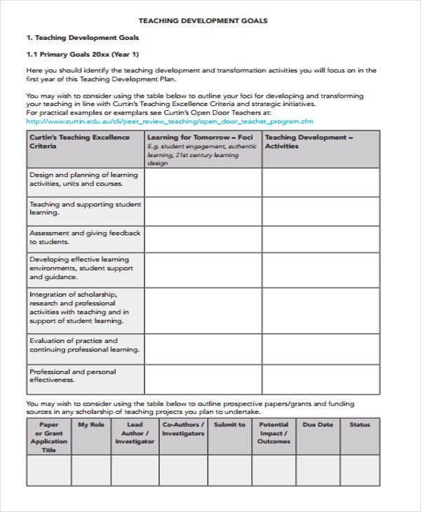 Performance Development Plan Templates   Free Word Pdf Format