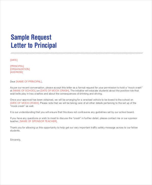 permission request letter to principal