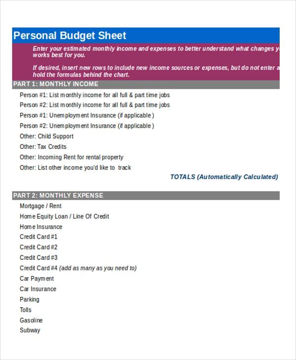 personal budget sheet4
