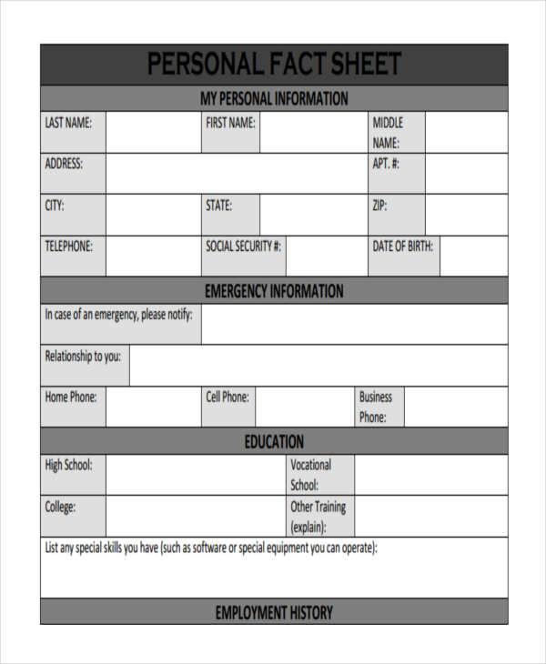 personal fact sheet