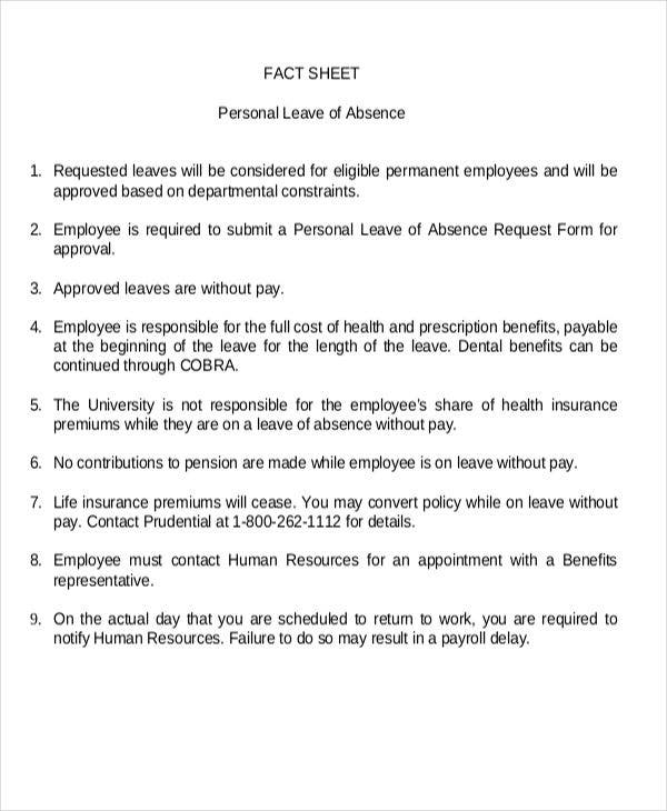 personal leave fact sheet