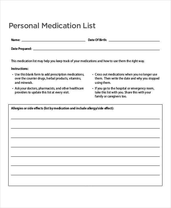 personal medication list