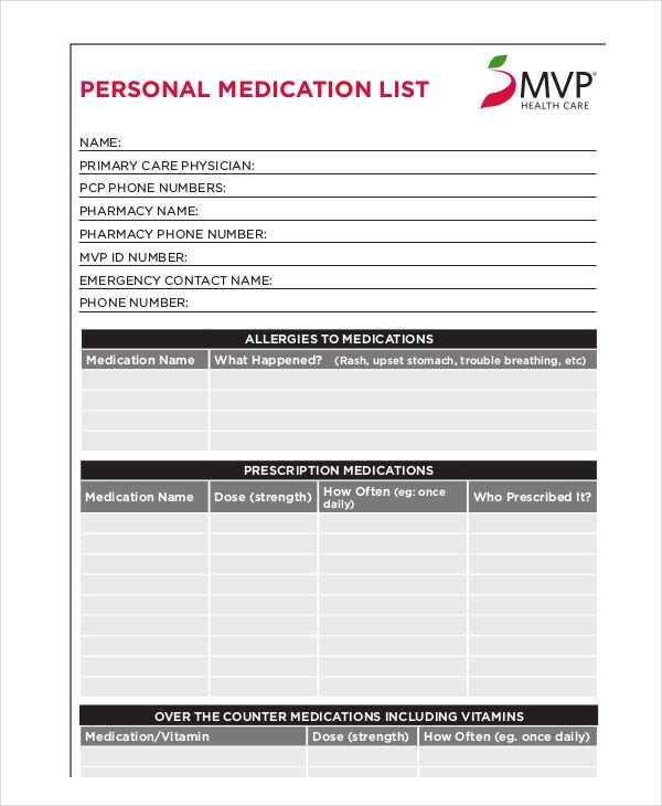 6 printable medication list templates free samples examples personal medication maxwellsz
