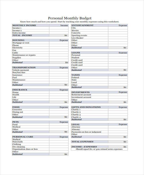 personal monthly budget3