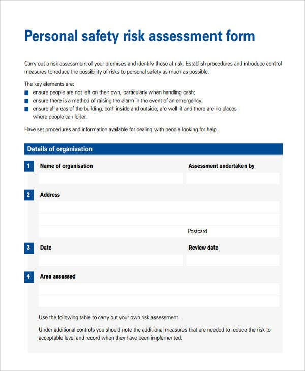 personal safety risk assessment