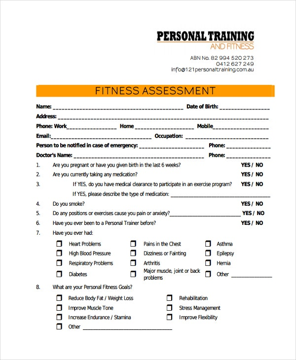 personal training assessment
