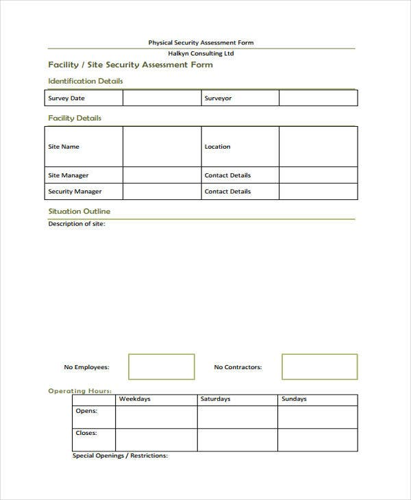 Security Assessment Template: 26+ Risk Assessment Form Templates