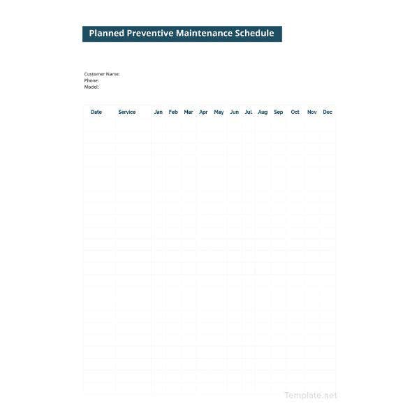 planned preventive maintenance schedule template