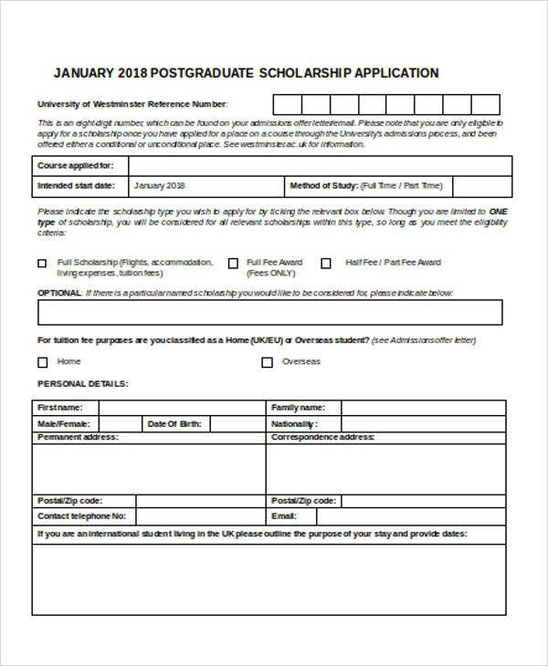 postgraduate scholarship application