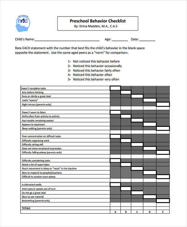 Behavior Checklist Templates - 7 Free Word, PDF Format Download ...