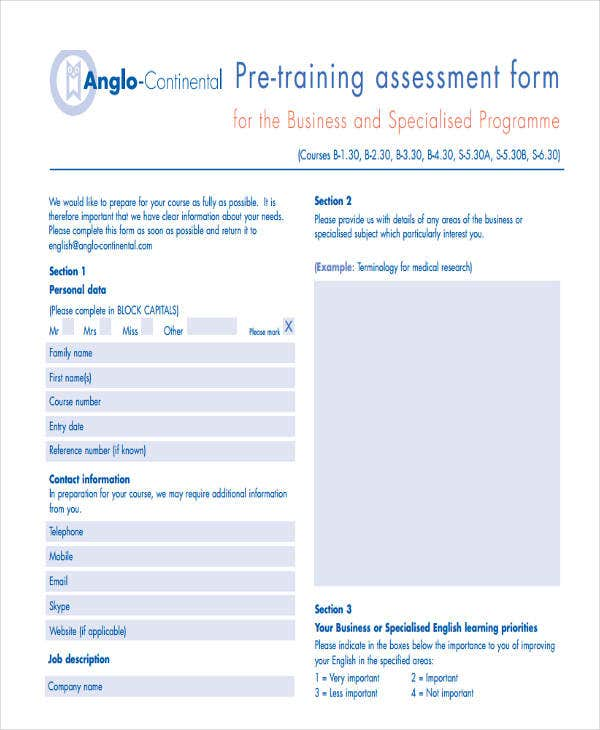 19 needs assessment form templates free premium templates pre training needs assessment fbccfo Images
