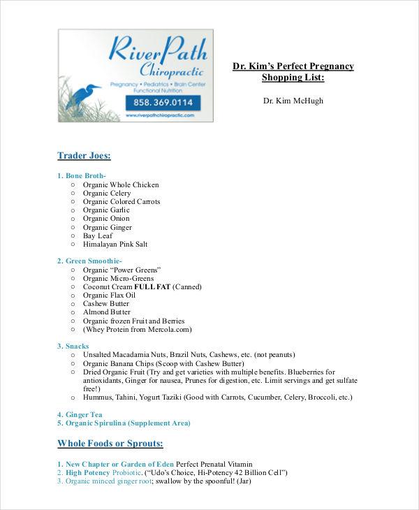 pregnancy food shopping list