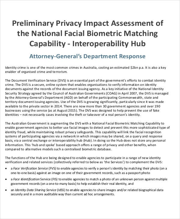 preliminary privacy impact assessment