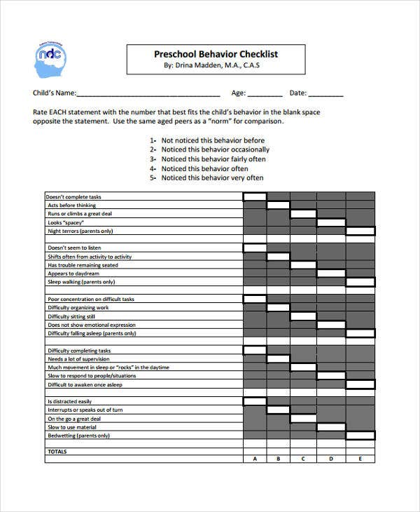 preschool behavior checklist 10 behavior checklist templates free samples examples 309