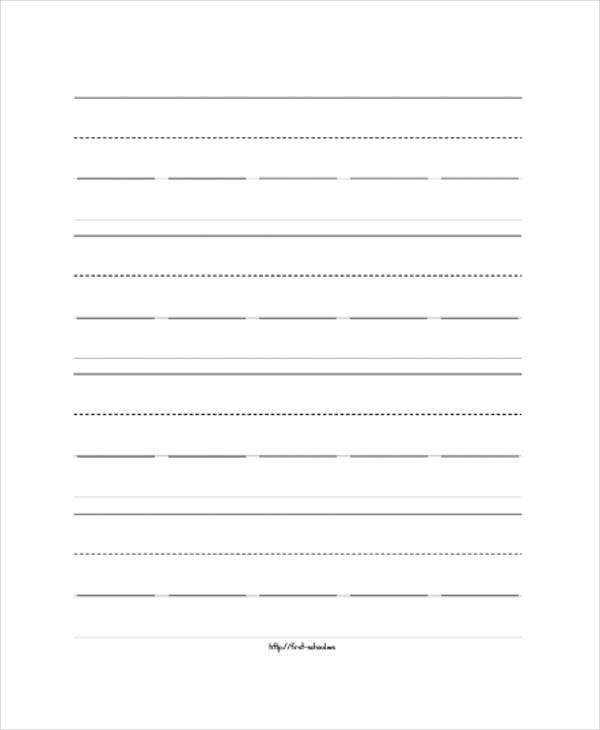 preschool lined wide paper