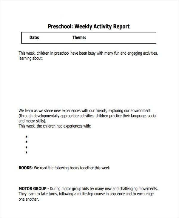 preschool weekly activity report