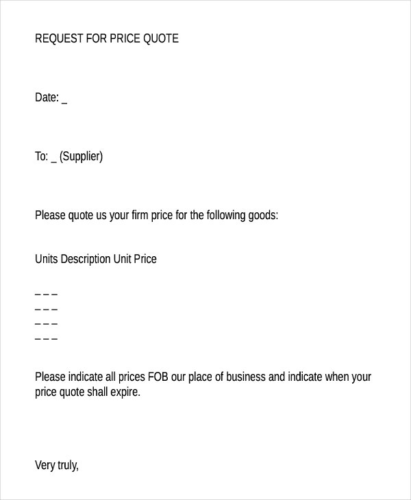 price quotation request letter