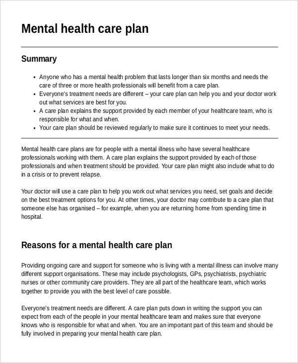 primary mental health care plan