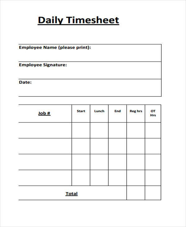printable daily timesheet