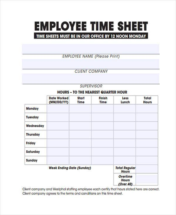 printable employee timesheet