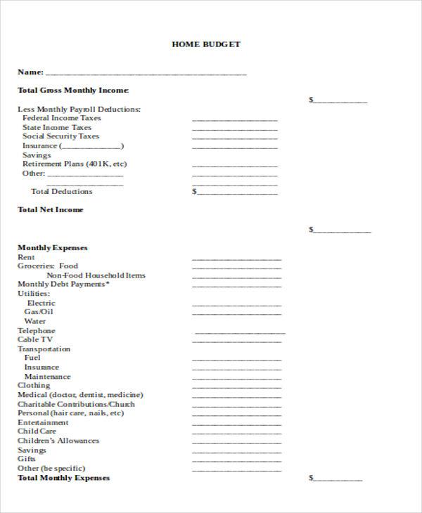 printable home budget