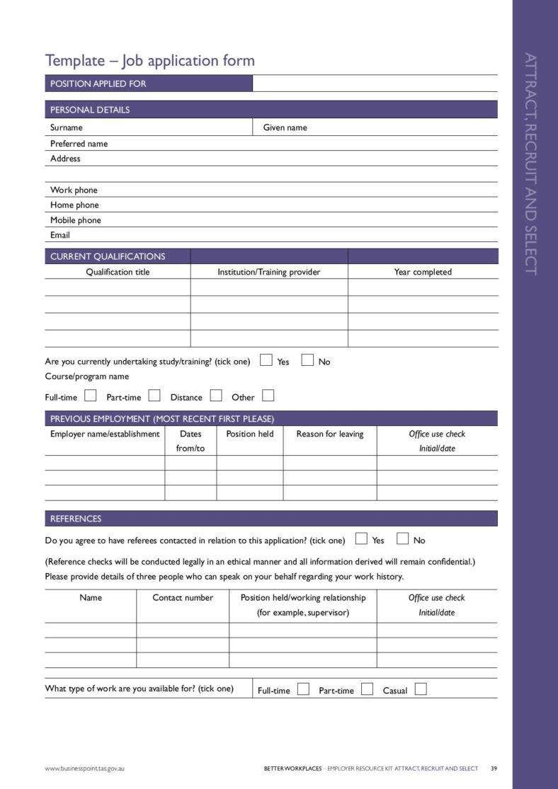 printable job application form template page 001 788x1115
