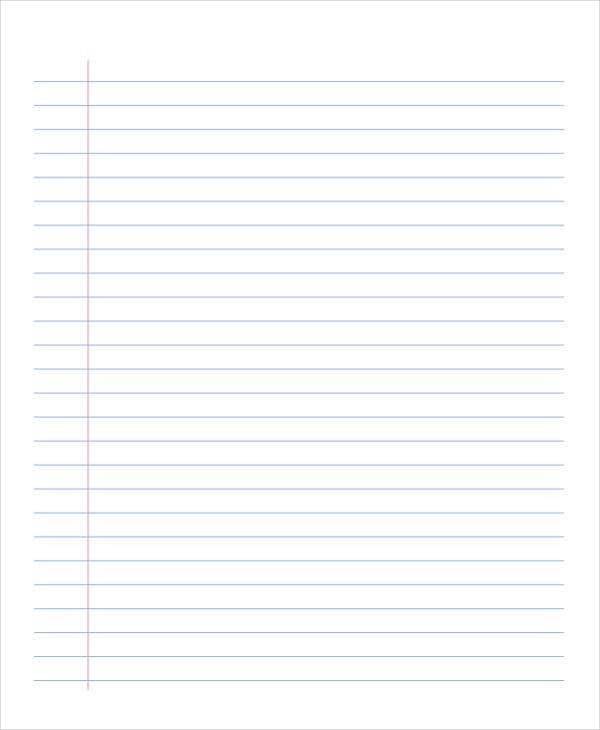 printable lined notebook paper