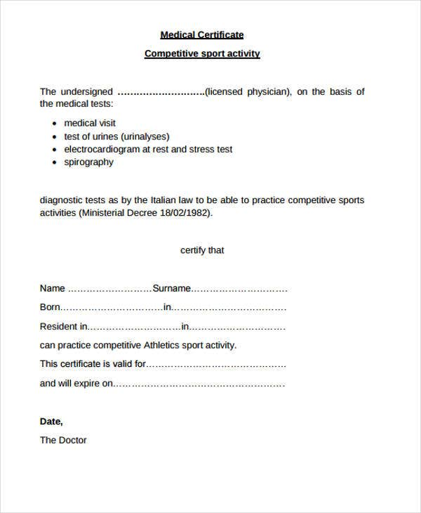 printable medical certificate
