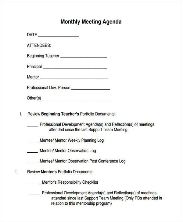 printable monthly meeting agenda