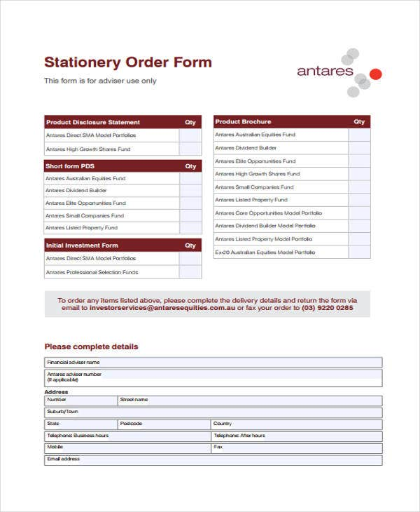 printable order template